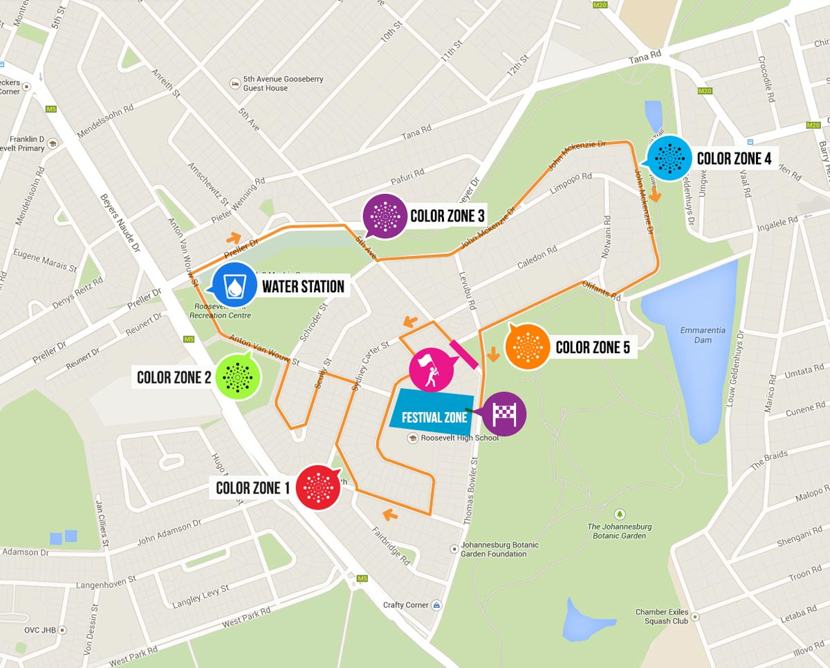 Johannesburg The Color Run South Africa - Johannesburg germany map